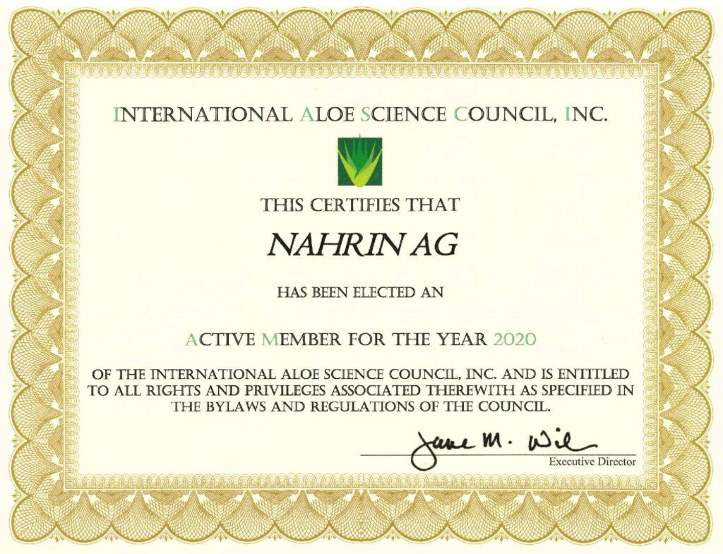 Certificado IASC Nahrin